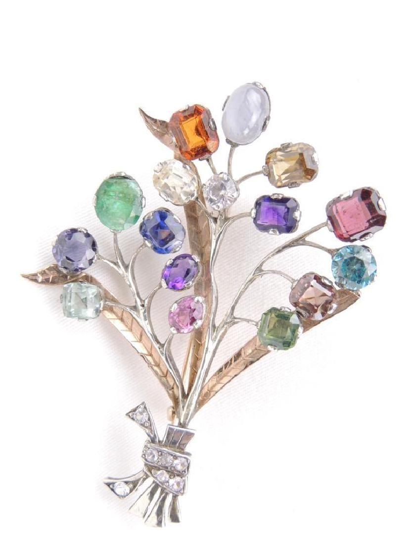 Sterling Silver and gemstone tree brooch