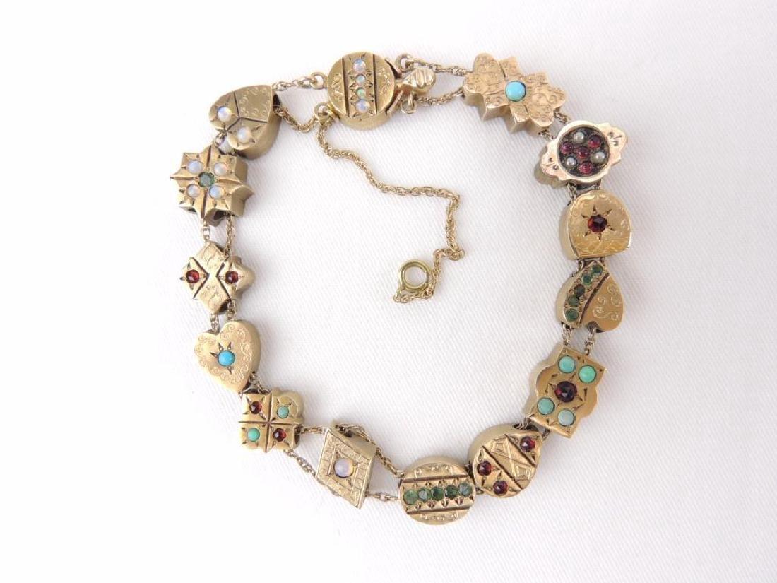 14K yellow gold Victorian gemstone slide bracelet