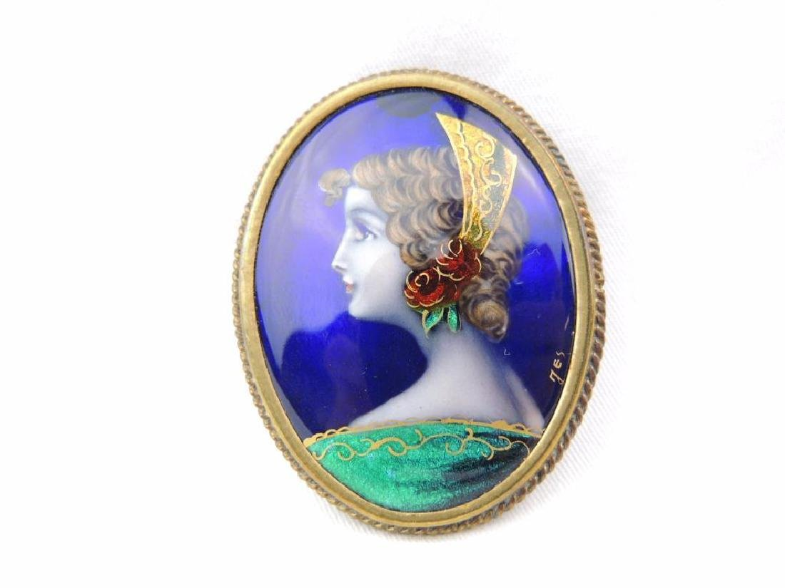 Victorian enameled cameo portrait pin