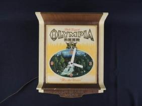 Light Up Advertising Clock-Olympia Beer