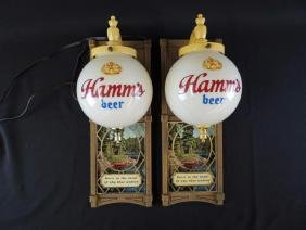 Light Up Advertising Beer Sconces-Hamm's Beer