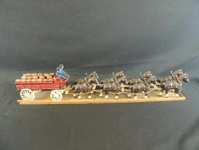 Vintage Cast Iron Beer Wagon with 8 Horses