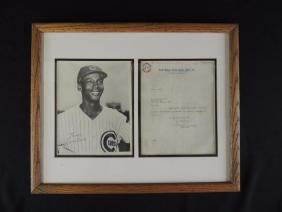 Ernie Banks Signed Press Photo and Letter