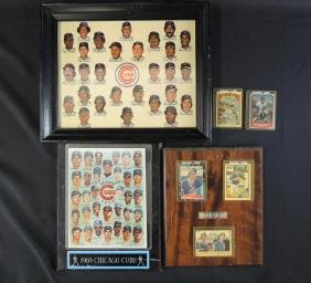 Group of 5 Chicago Cubs Plaques and Baseball Cards