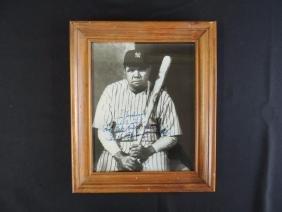 Si Johnson Signed Babe Ruth Photo