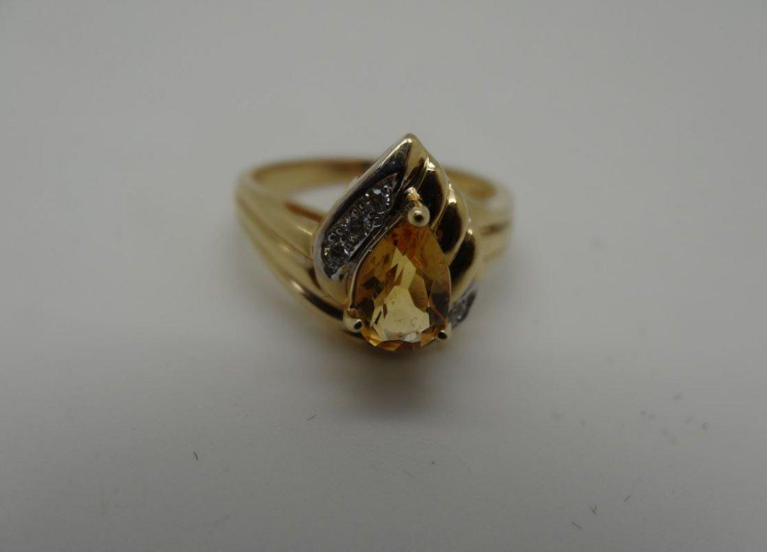 14K YELLOW GOLD 1.50CT CITRINE 0.05CTTW DIAMOND RING