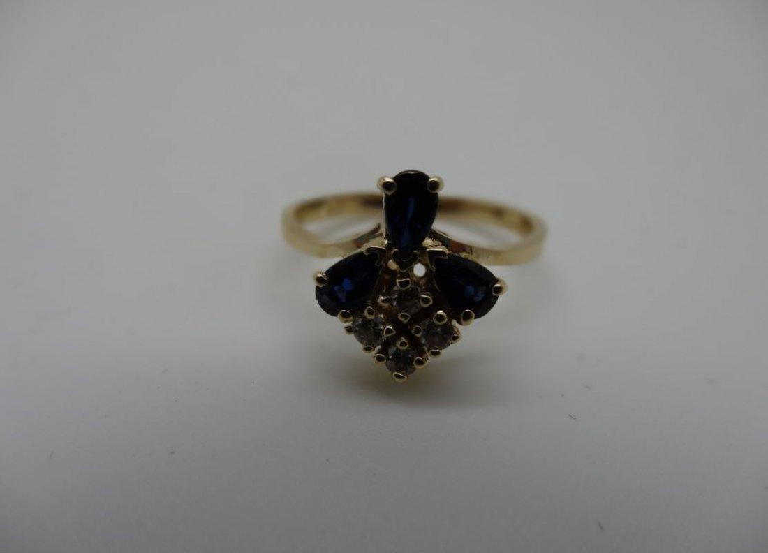 14K YELLOW GOLD 0.40CTTW BLUE SAPPHIRE 0.12CTTW DIAMOND