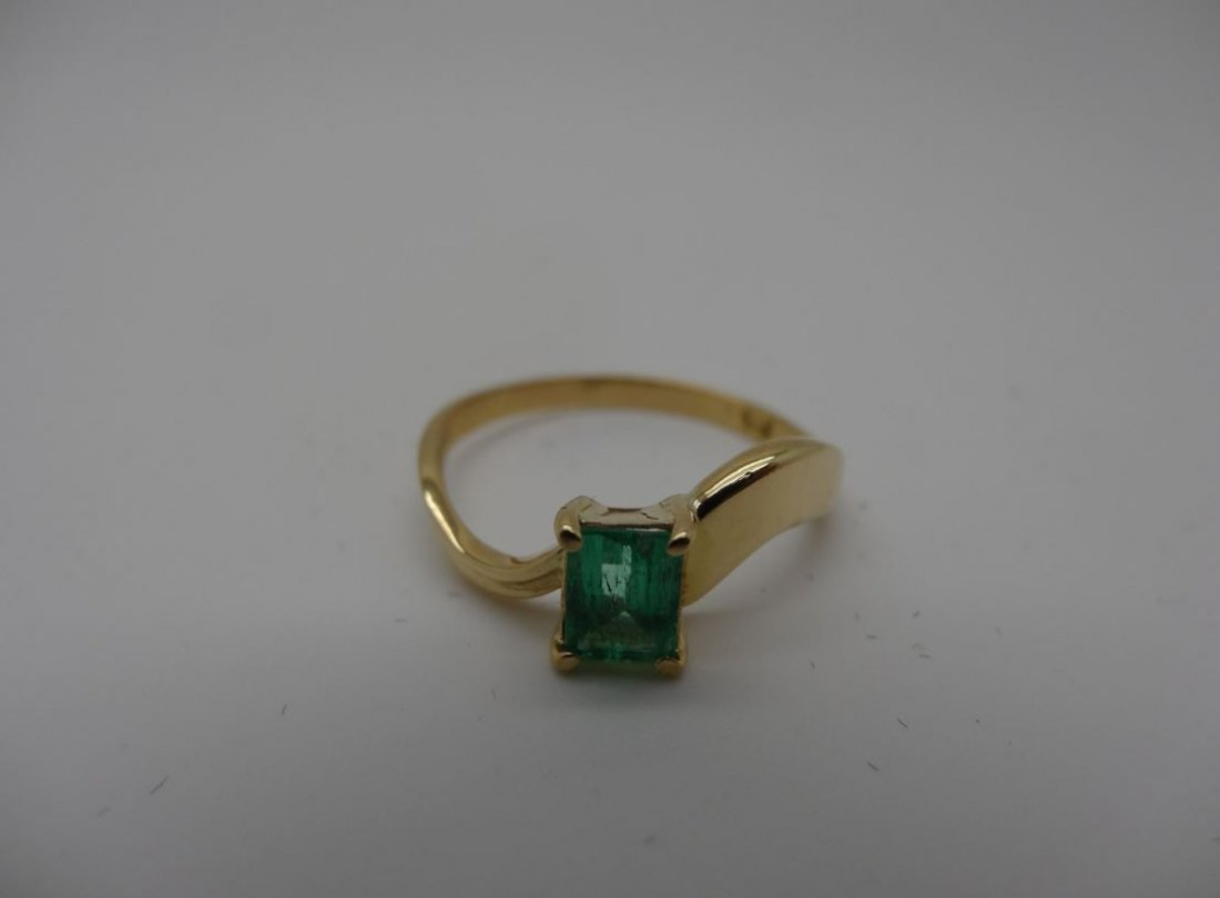 14K YELLOW GOLD 1.10CT EMERALD RING SIZE 7.75