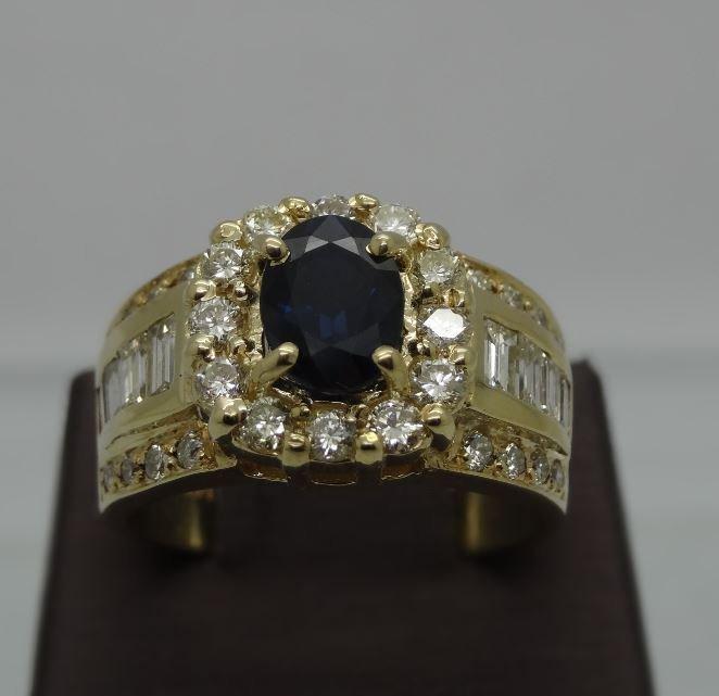 14K YELLOW GOLD 1.30CT BLUE SAPPHIRE 1.80CTTW DIAMOND