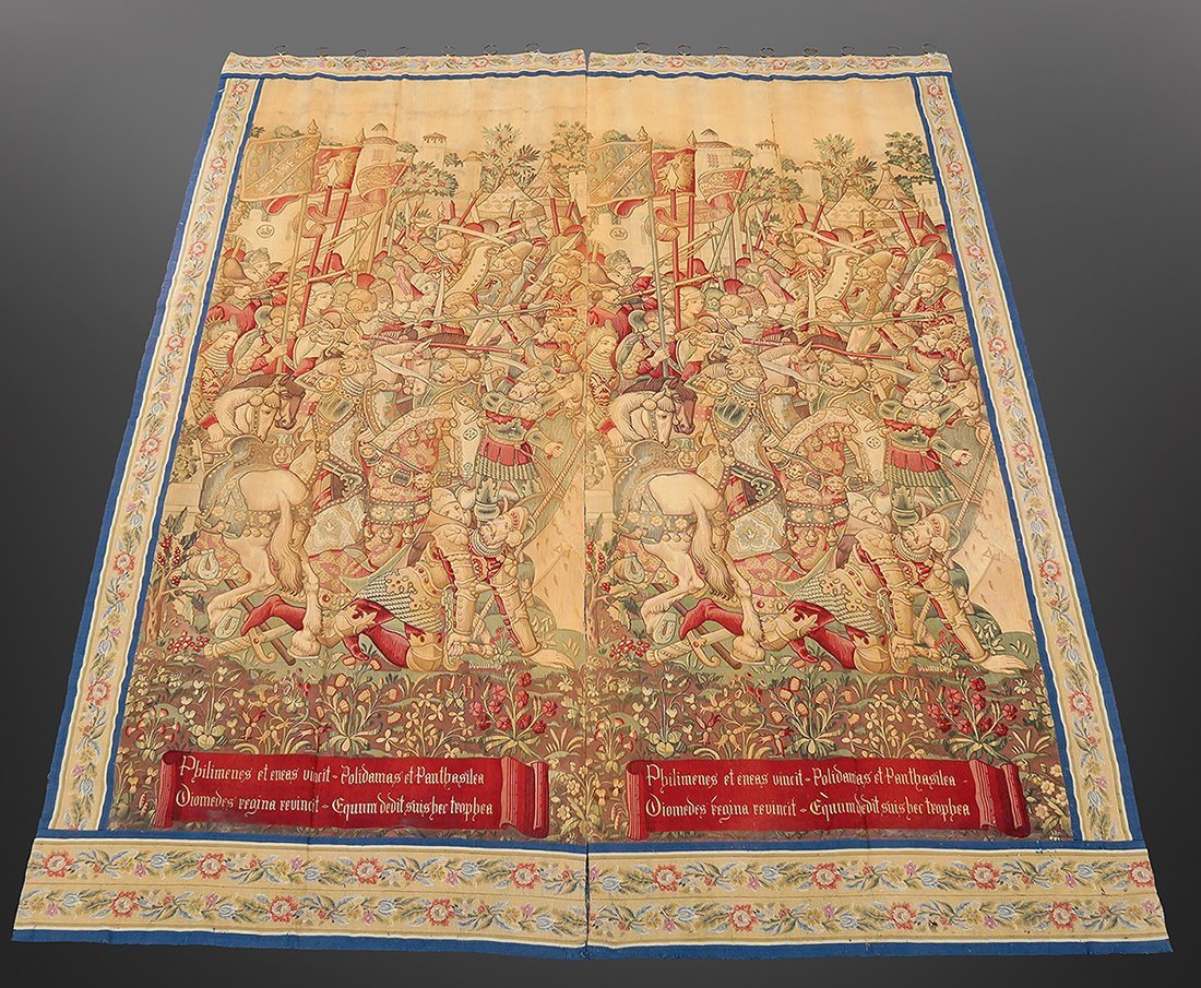 Large Pair of 17th C. Flemish Tapestry