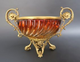 French Bronze Mounted Signed Baccarat Crystal Centerpie