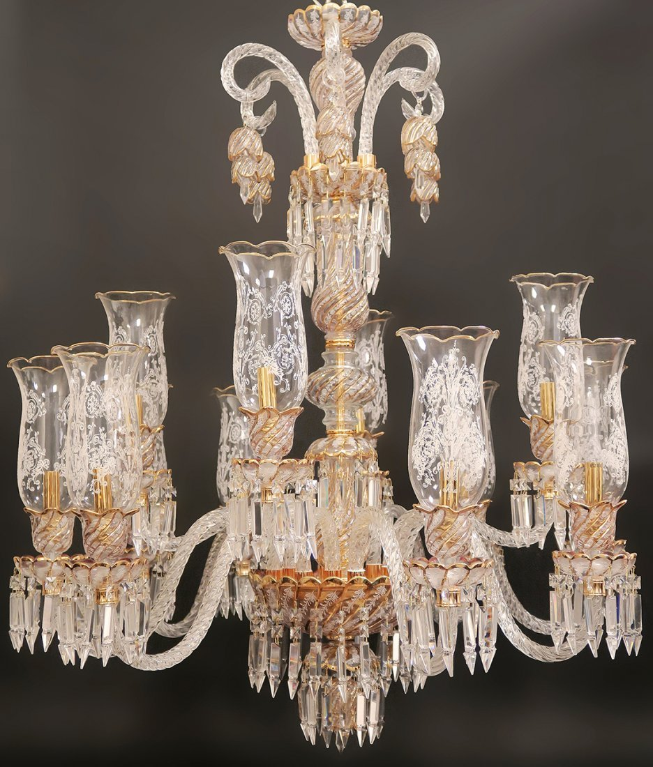 Baccarat / Bohemian Style 12 Branch Crystal Chandelier
