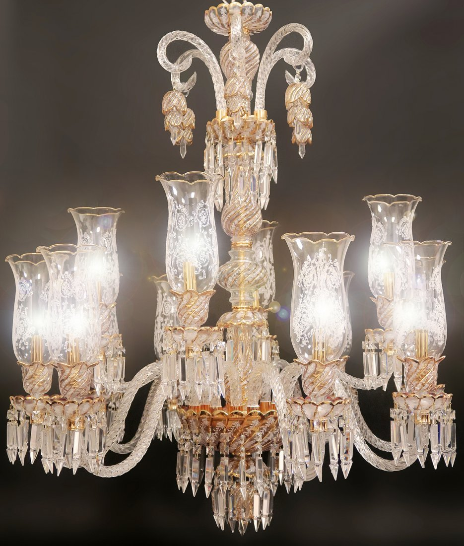 Baccarat / Bohemian Style 12 Branch Crystal Chandelier - 2