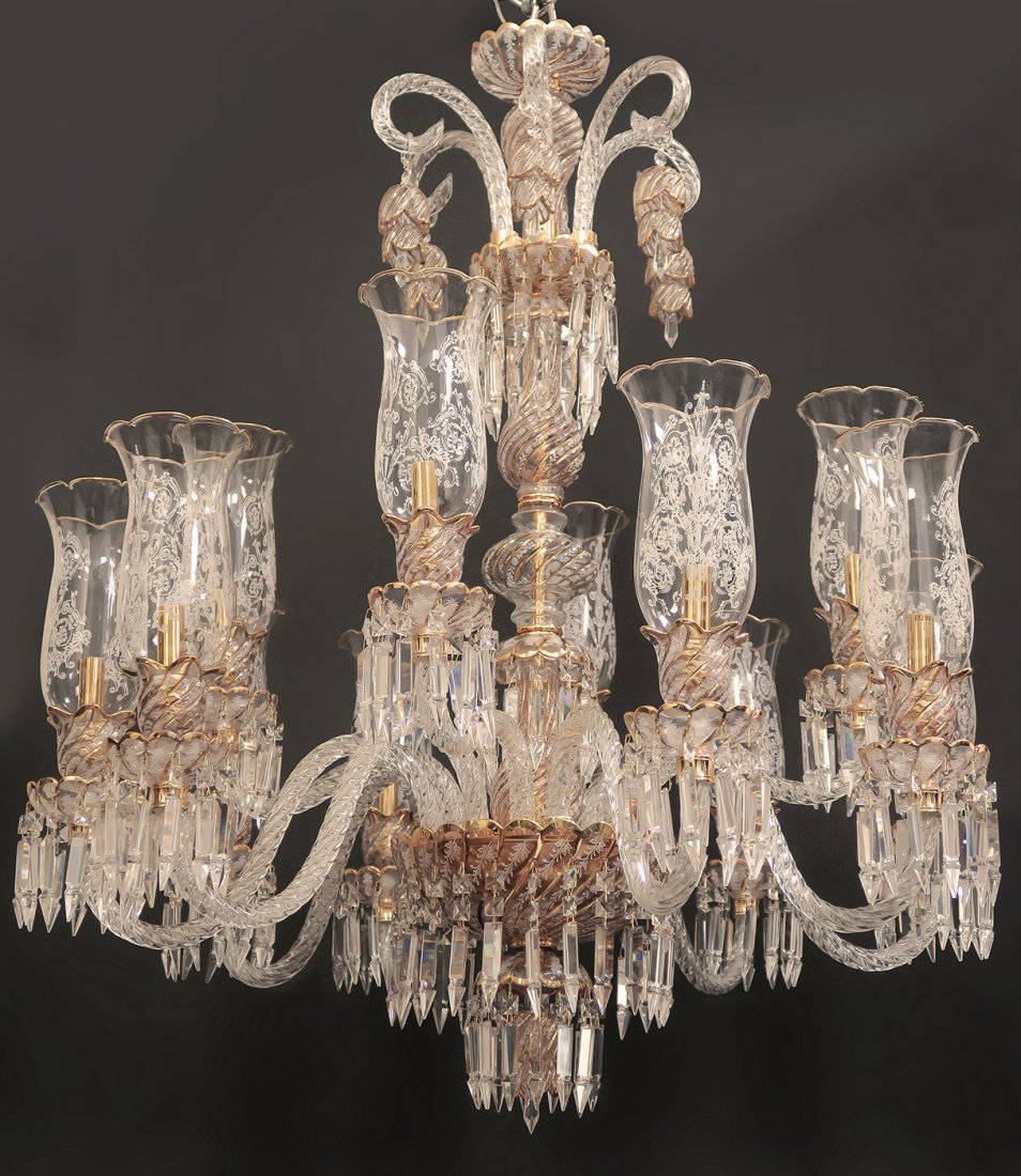 Baccarat / Bohemian Style 12 Branch Crystal Chandelier - 3