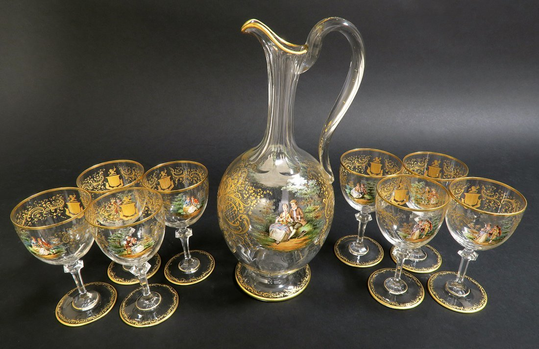 19th C. Lobmeyr / Moser Hand Painted Decanter Set