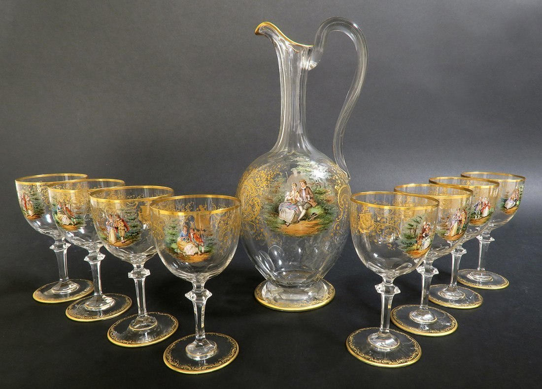 19th C. Lobmeyr / Moser Hand Painted Decanter Set - 2