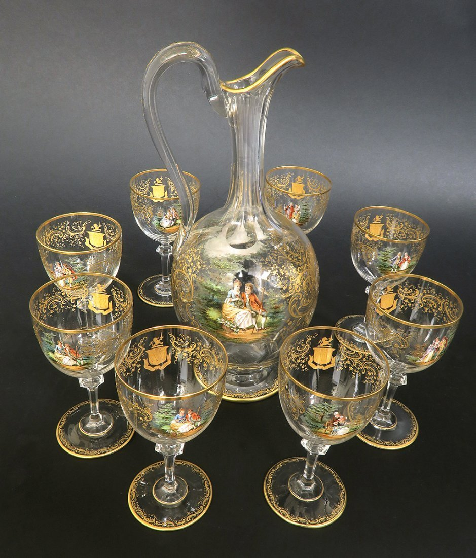 19th C. Lobmeyr / Moser Hand Painted Decanter Set - 3