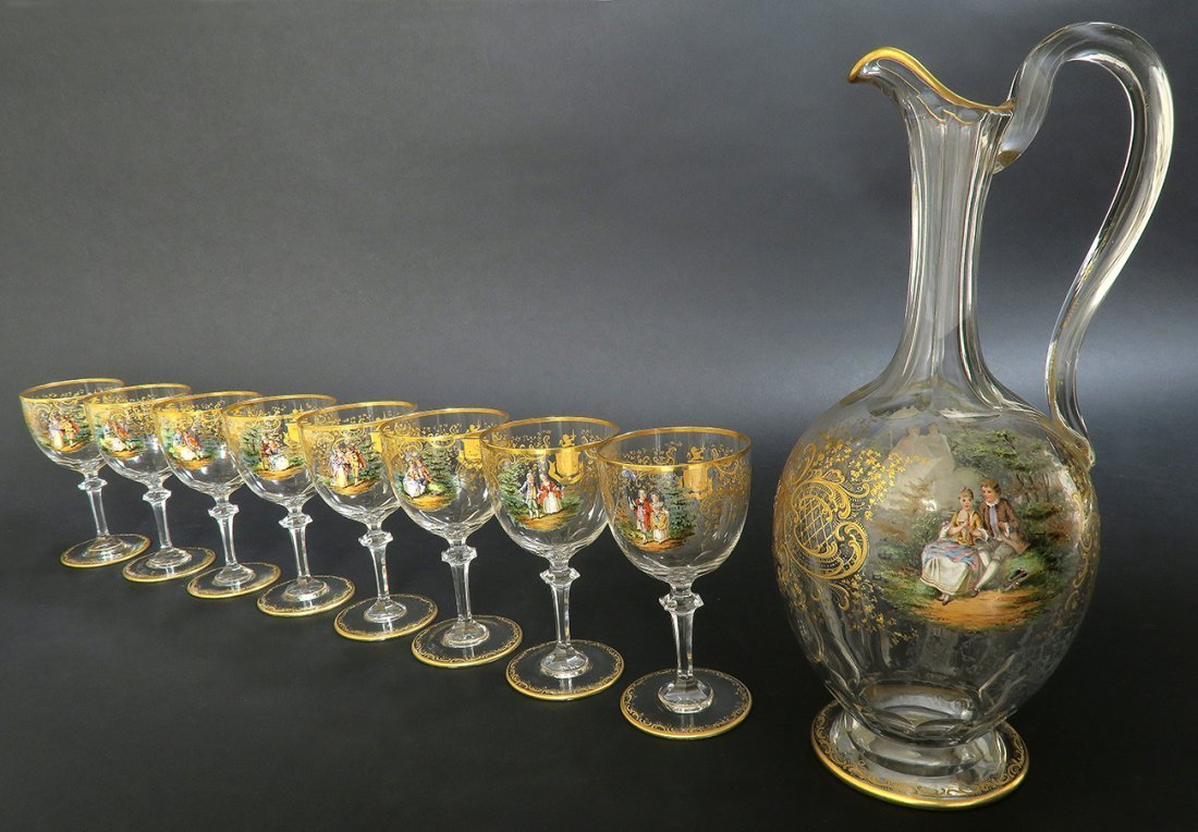 19th C. Lobmeyr / Moser Hand Painted Decanter Set - 4