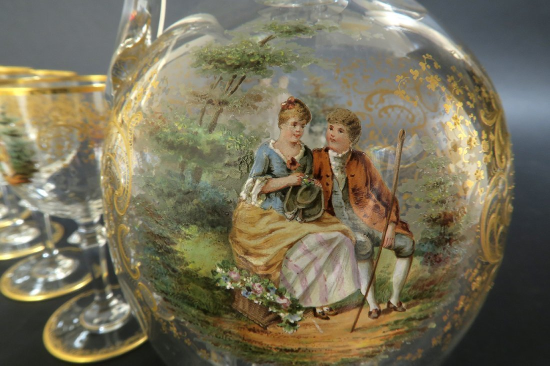 19th C. Lobmeyr / Moser Hand Painted Decanter Set - 6