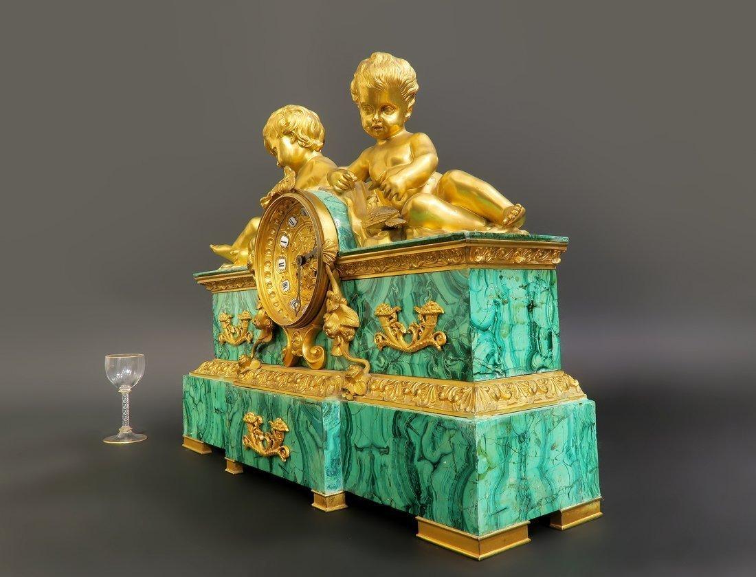 19th C. Bronze & Russian Malachite Figural Clock Set - 3