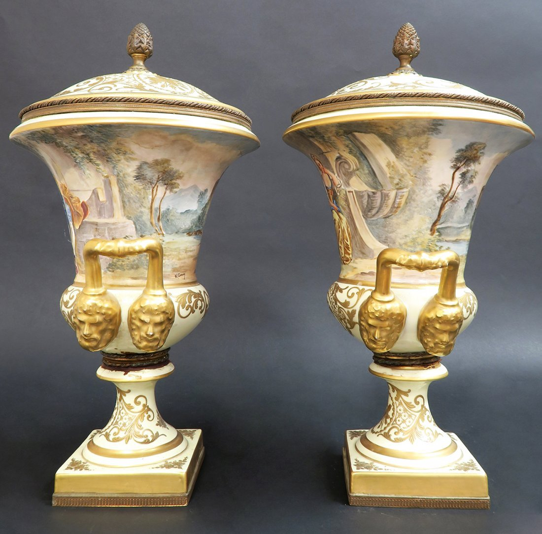 Large Pair of French 19th C. Hand Painted Sevres Vases - 3