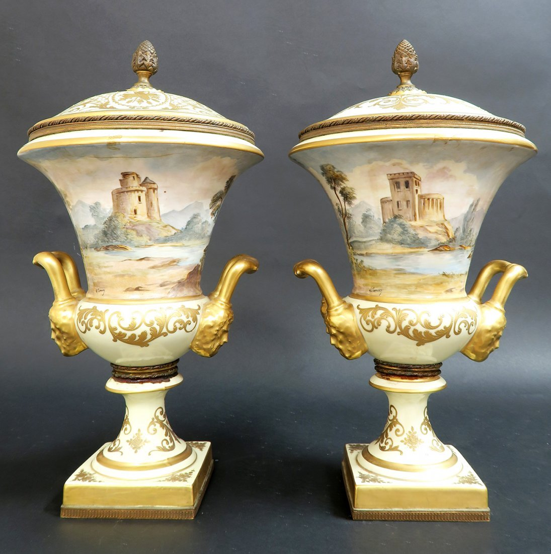 Large Pair of French 19th C. Hand Painted Sevres Vases - 4