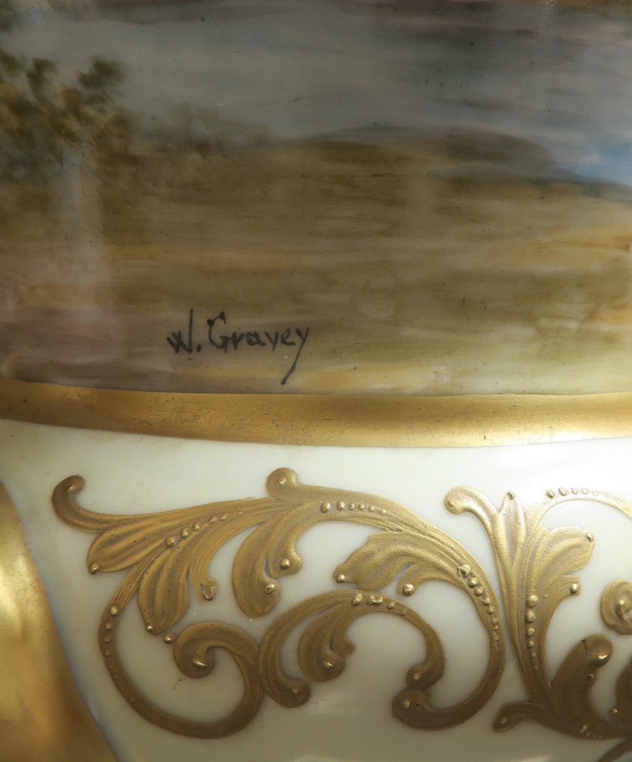 Large Pair of French 19th C. Hand Painted Sevres Vases - 5