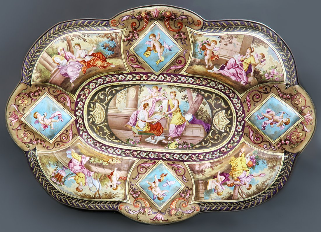Extra Large Viennese Enamel on Silver Plate 12' length!