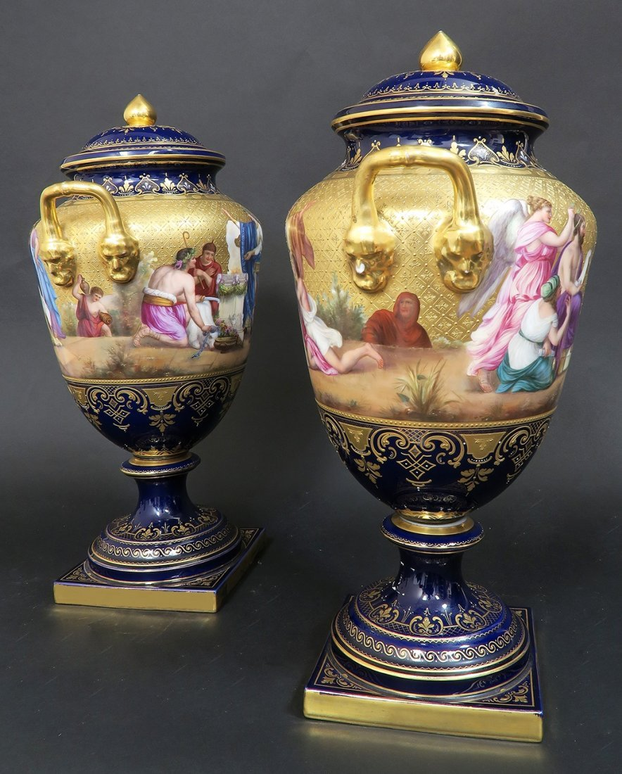 Large Pair of Hand Painted Royal Vienna Vases - 4