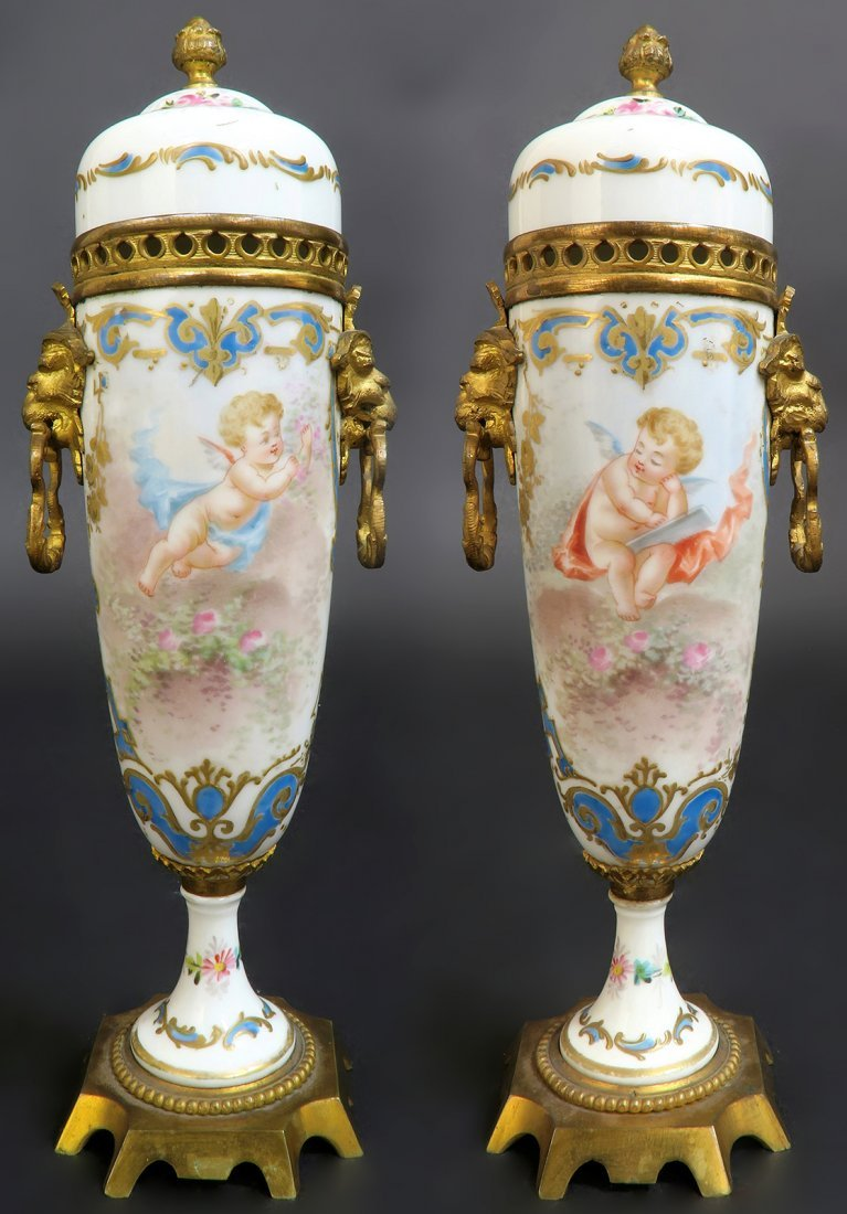 19th C. Hand Painted Pair of French Bronze Mounted Sevr
