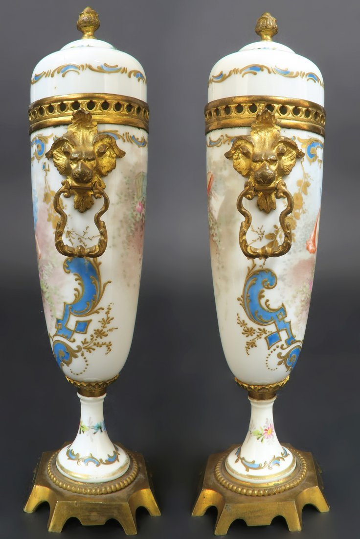 19th C. Hand Painted Pair of French Bronze Mounted Sevr - 2