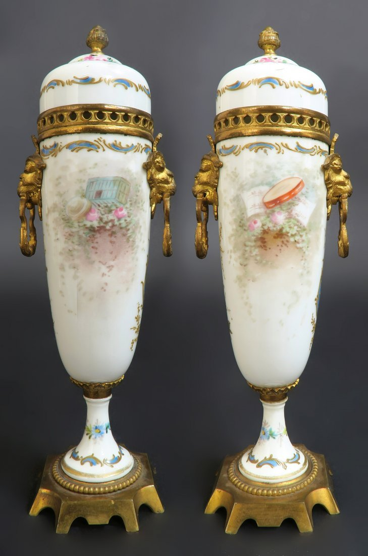 19th C. Hand Painted Pair of French Bronze Mounted Sevr - 3