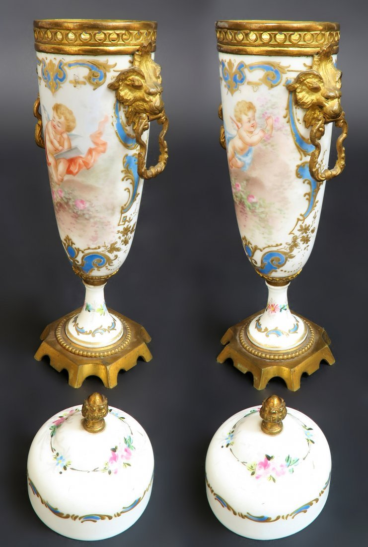 19th C. Hand Painted Pair of French Bronze Mounted Sevr - 4
