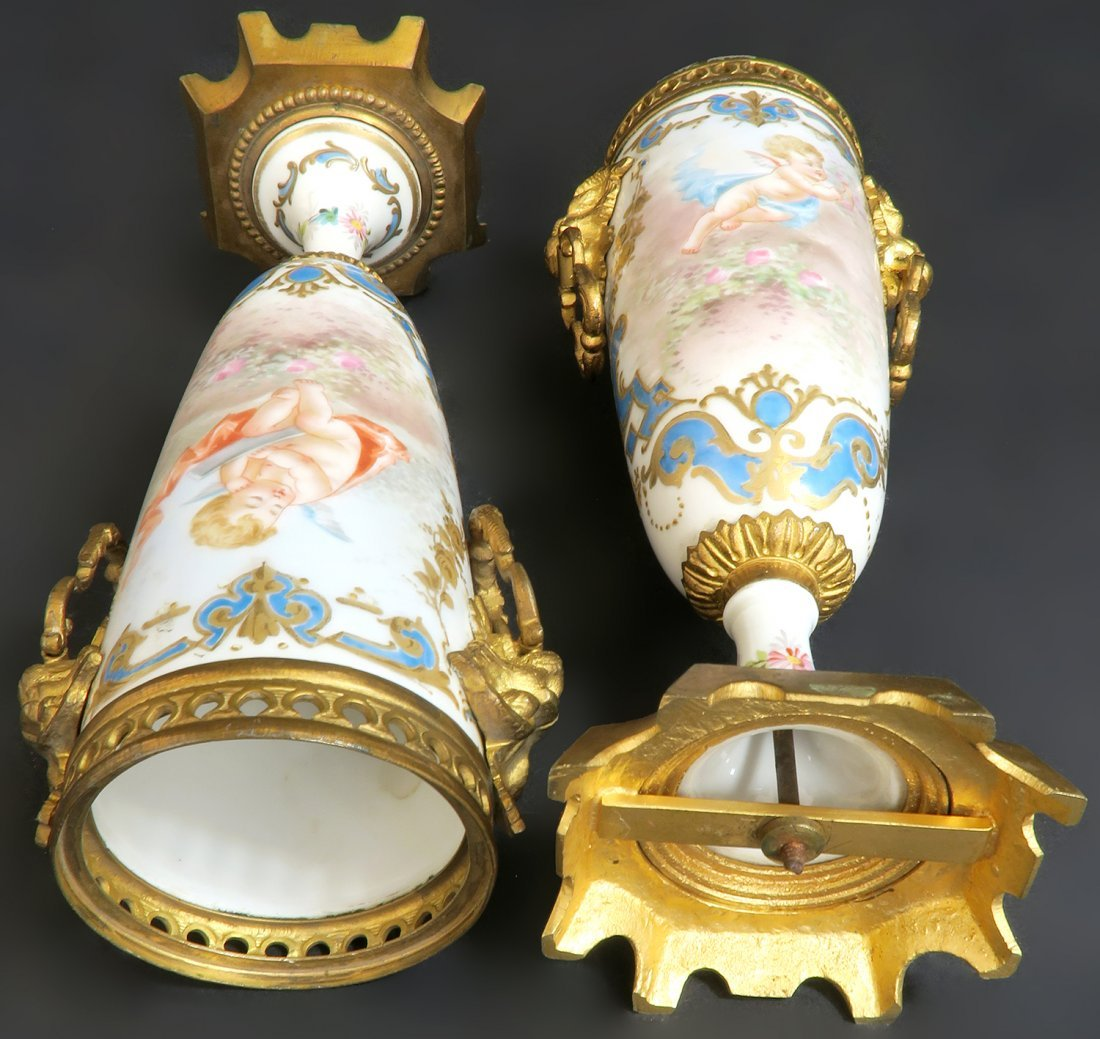 19th C. Hand Painted Pair of French Bronze Mounted Sevr - 5