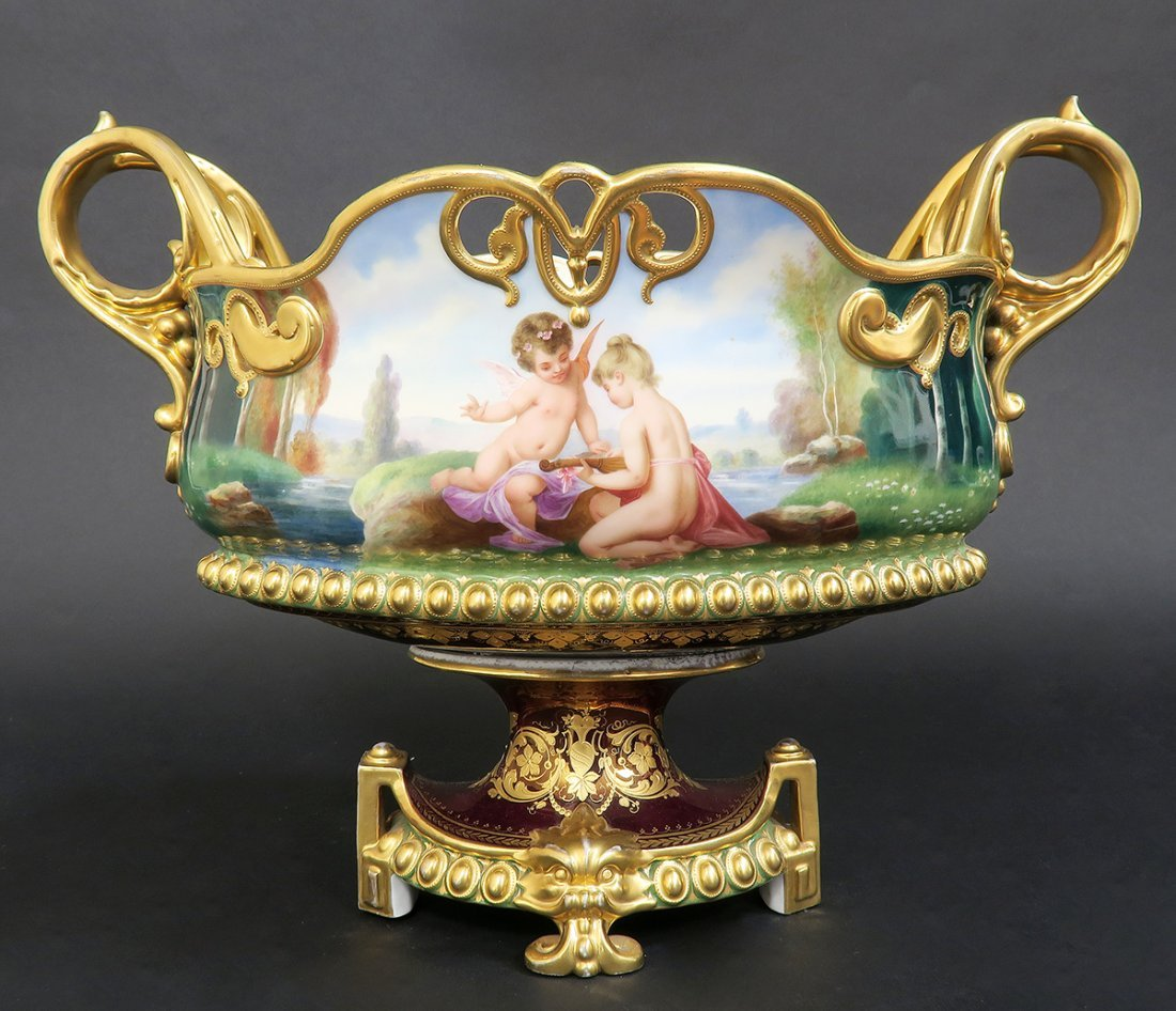 19th C. Hand Painted Royal Vienna Centerpiece