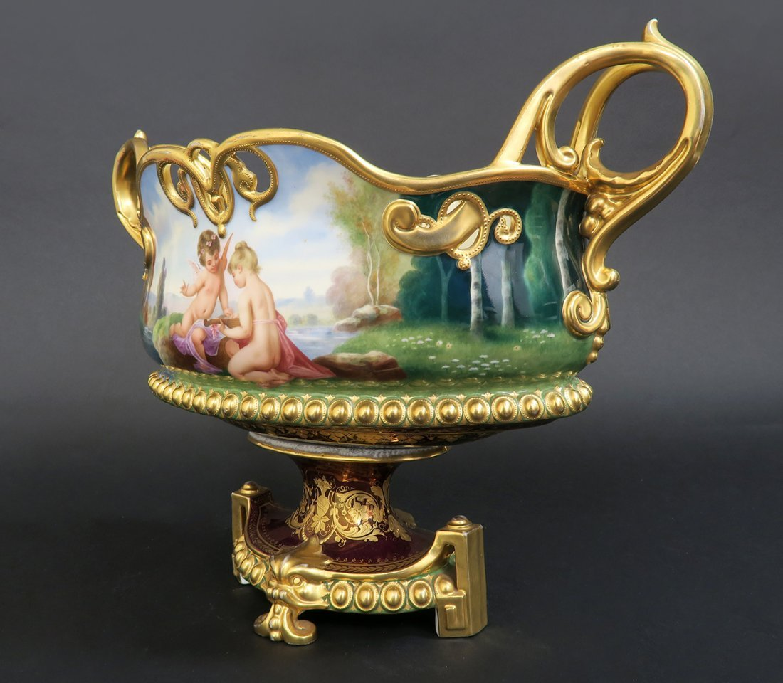 19th C. Hand Painted Royal Vienna Centerpiece - 2