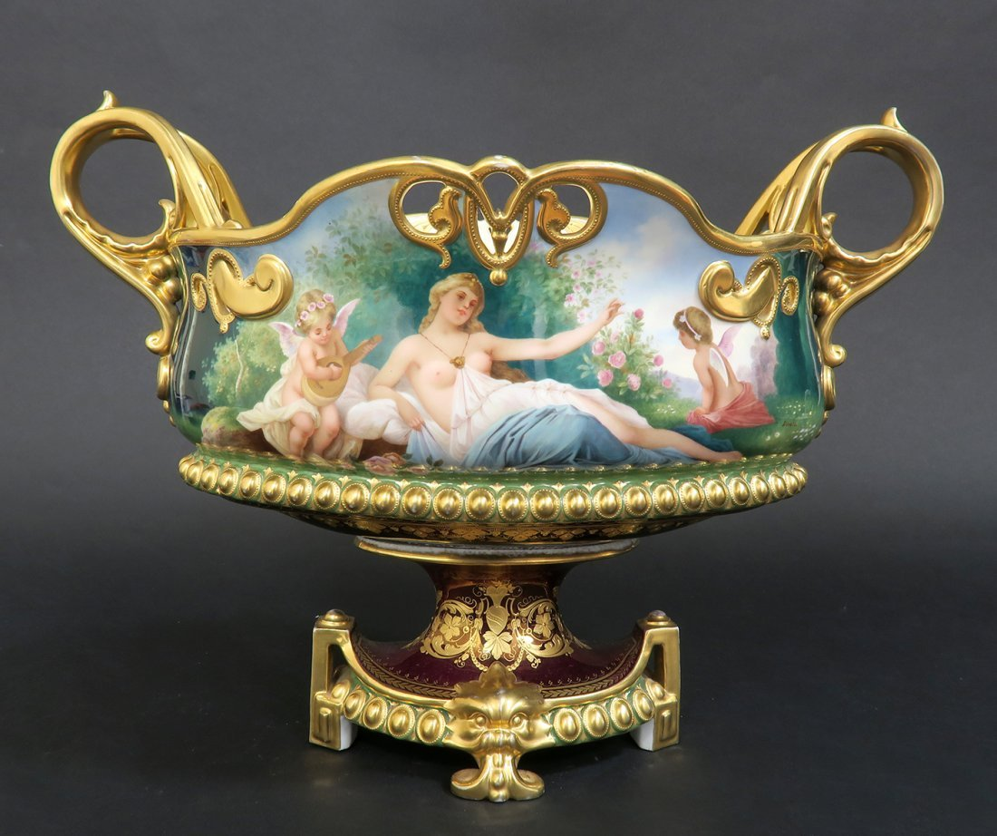 19th C. Hand Painted Royal Vienna Centerpiece - 4
