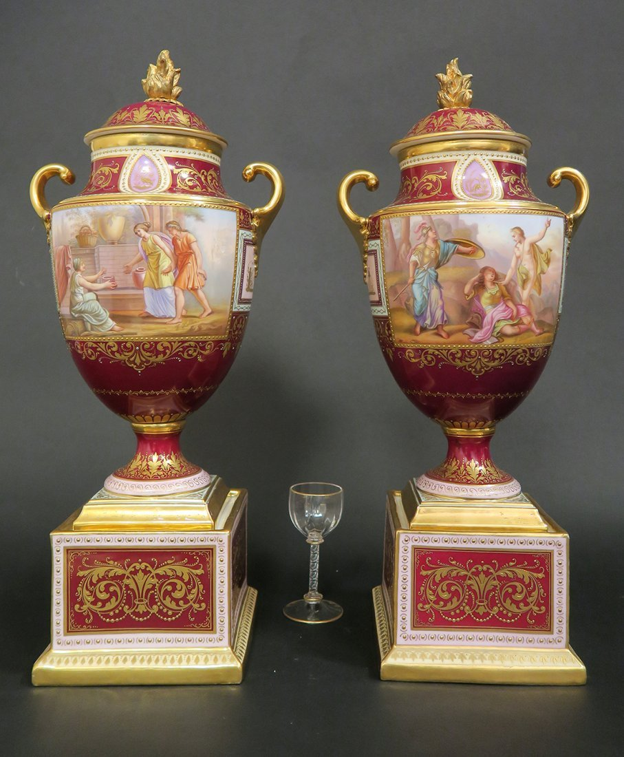 Large Pair of Hand Painted Royal Vienna Vases. 19th Cen