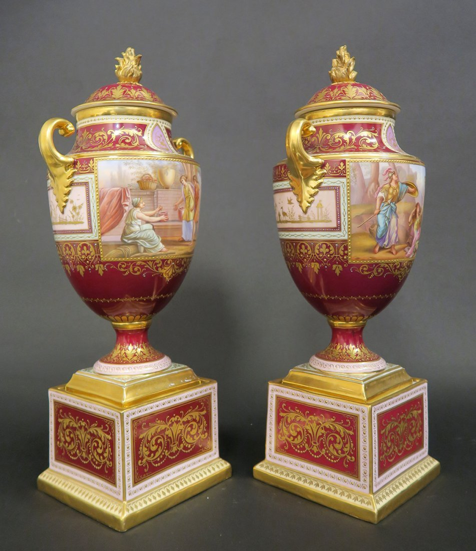 Large Pair of Hand Painted Royal Vienna Vases. 19th Cen - 2