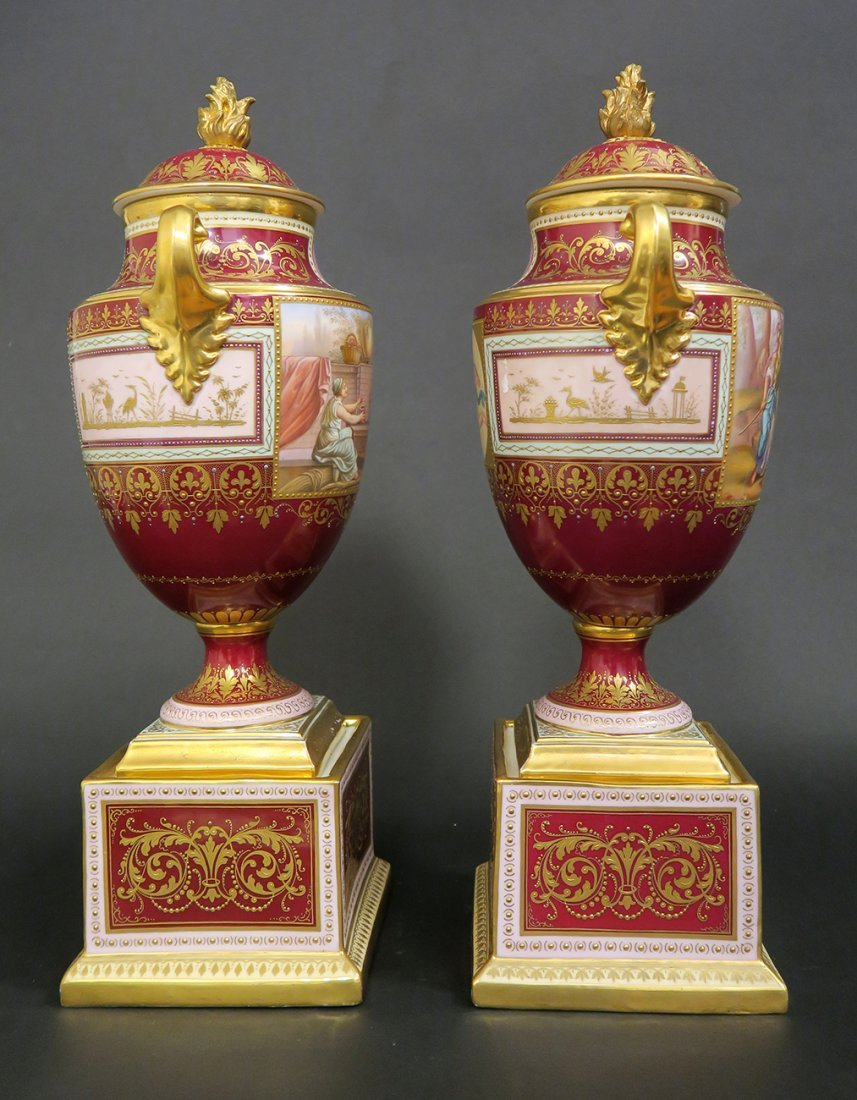 Large Pair of Hand Painted Royal Vienna Vases. 19th Cen - 3