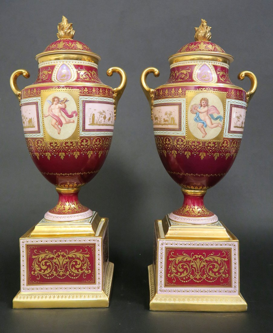 Large Pair of Hand Painted Royal Vienna Vases. 19th Cen - 4