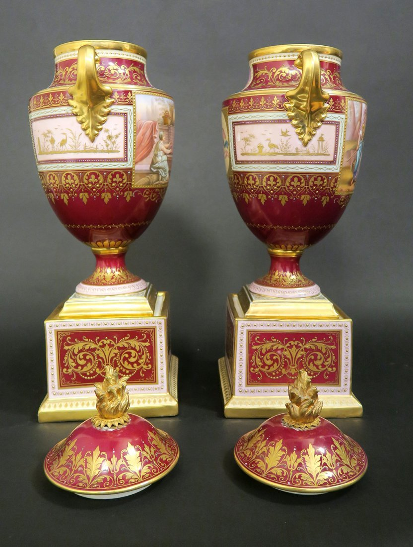 Large Pair of Hand Painted Royal Vienna Vases. 19th Cen - 6