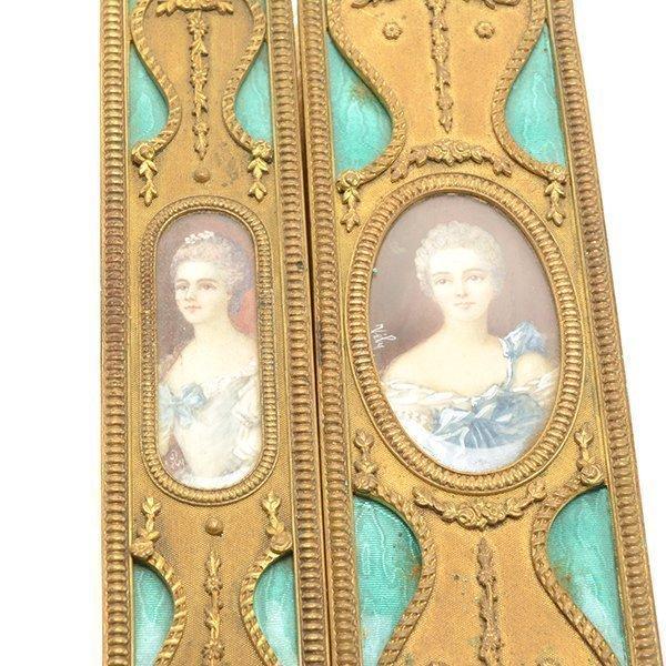 French Gilt Bonze Enameled Portrait Dresser Set - 9