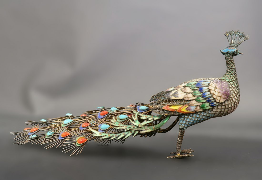 Chinese Silver Enamel Coral and Turquoise Peacock
