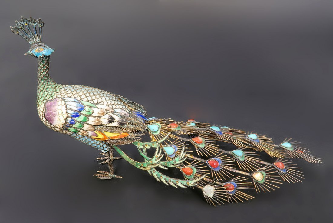 Chinese Silver Enamel Coral and Turquoise Peacock - 2