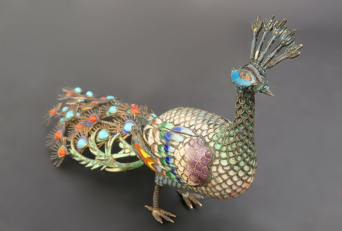 Chinese Silver Enamel Coral and Turquoise Peacock - 5