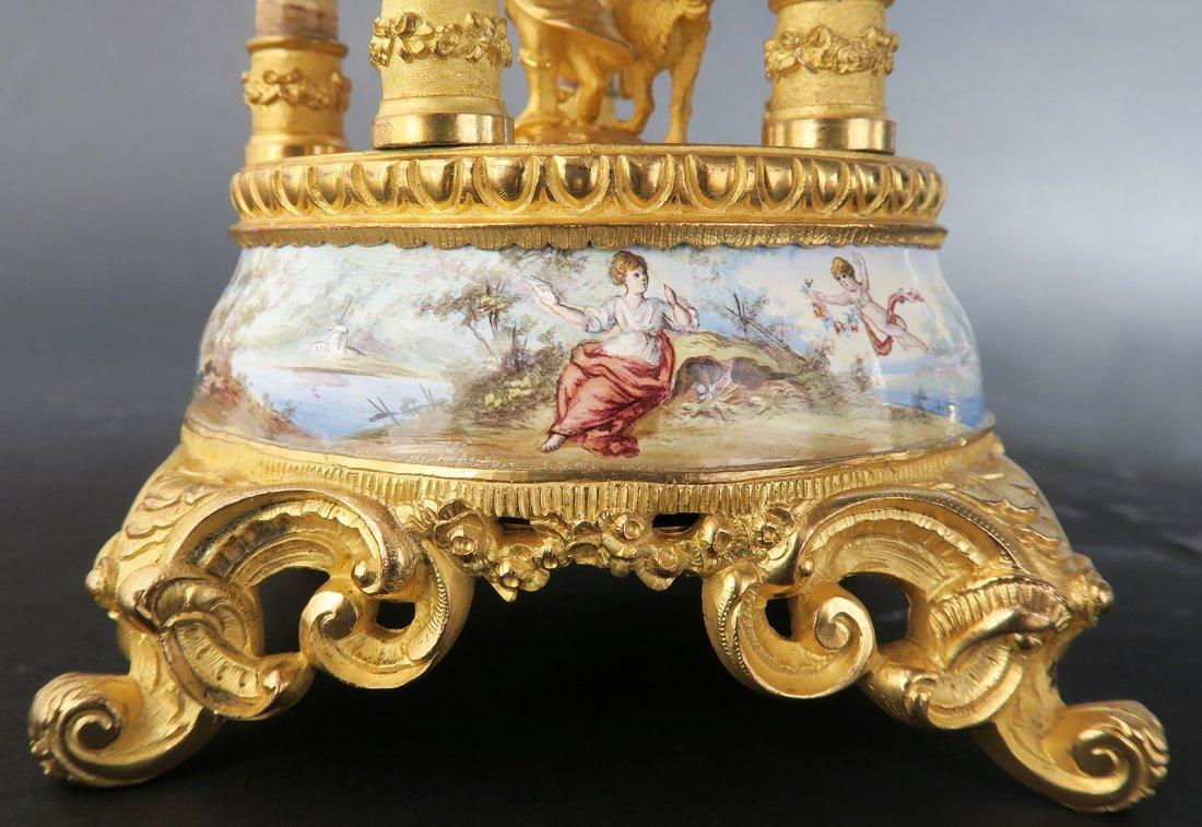 Large Bronze & Viennese Enamel Figural Clock - 7