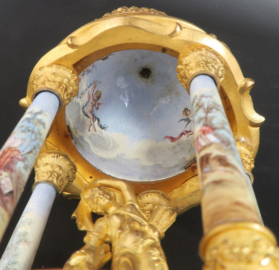 Large Bronze & Viennese Enamel Figural Clock - 8