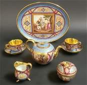 19th C. Hand Painted Royal Vienna Tea Set. Museum quali