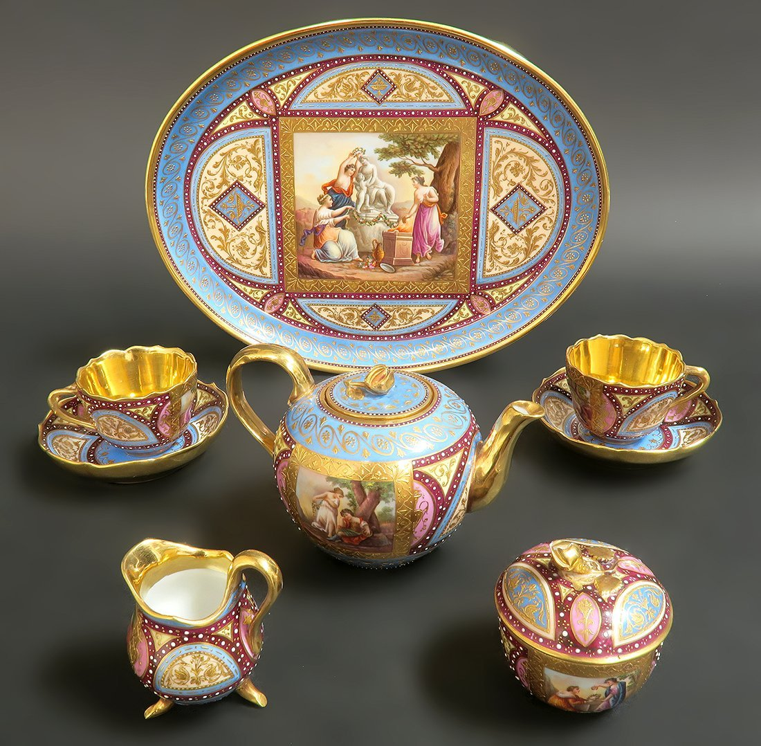 19th C. Hand Painted Royal Vienna Tea Set. Museum quali